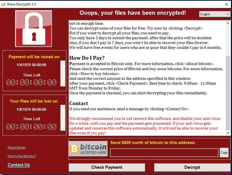Global ransomware WannaCry (WanaCrypt0r 2.0) cyber attack downs windows computers massively around the world