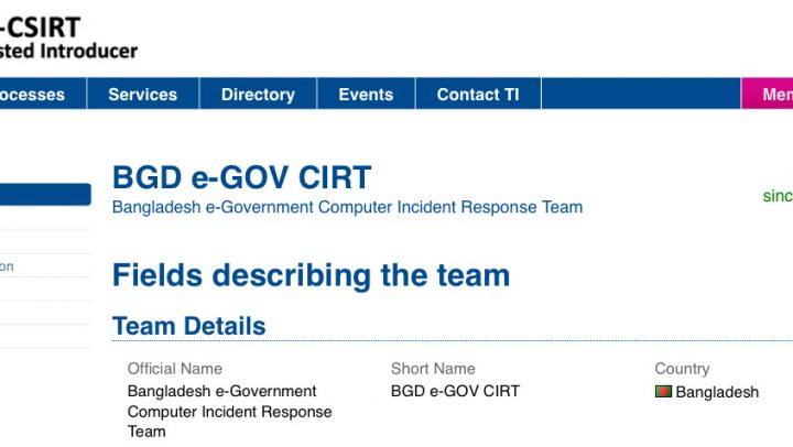 BGD e-GOV CIRT has become the Accredited Team of TF-CSIRT
