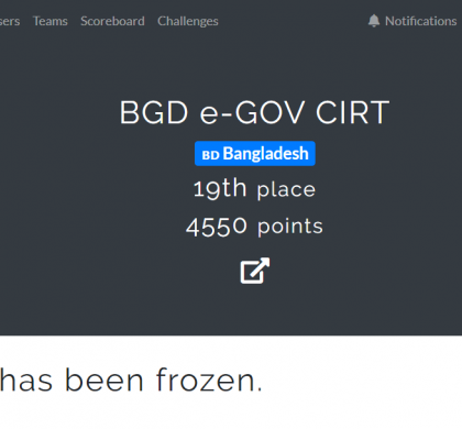 FIRST Annual CTF-2020: BGD e-Gov CIRT Secured 19th Place